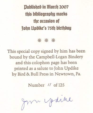 JOHN UPDIKE A Bibliography Of Primary Secondary Materials 1948
