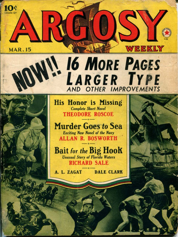 MURDER GOES TO SEA: in ARGOSY WEEKLY- Volume 306, Number 3. Allan R. Bosworth.