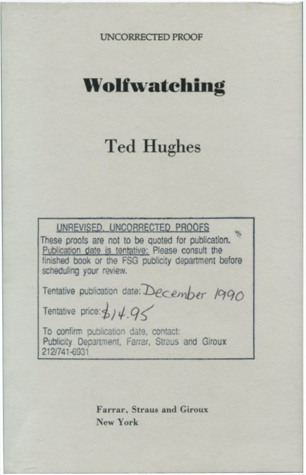 WOLFWATCHING. Ted Hughes.