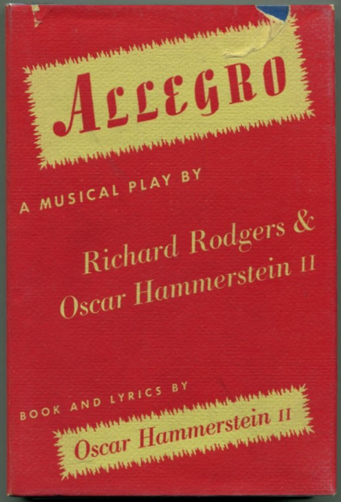 ALLEGRO A Musical Play. Richards Rodgers, Oscar Hammerstein.