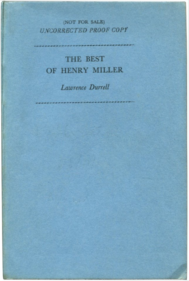 THE BEST OF HENRY MILLER. Henry Miller.