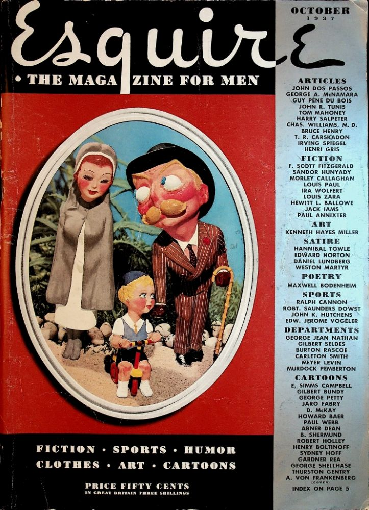 """""""The Guest in Room Nineteen"""": In Esquire Magazine. F. Scott Fitzgerald, Morley Callahan, Louis Paul, John Dos Passos."""
