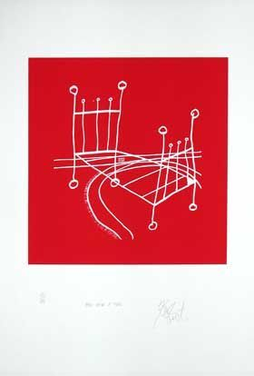 """ONCE UPON A TIME,"" RED NEGATIVE EDITION: Limited Edition, Signed Silkscreen Print. Kurt Vonnegut."
