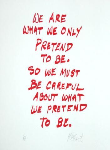"""CONFETTI #4: """"We are what we only pretend to be . . .""""; Limited Edition, Signed Silkscreen Print. Kurt Vonnegut."""
