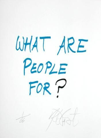"""CONFETTI #5: """"We are people for?""""; Limited Edition, Signed Silkscreen Print. Kurt Vonnegut."""