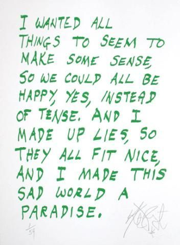 "CONFETTI #9: ""I wanted all things to seem to make some sense . . .""; Limited Edition, Signed Silkscreen Print. Kurt Vonnegut."