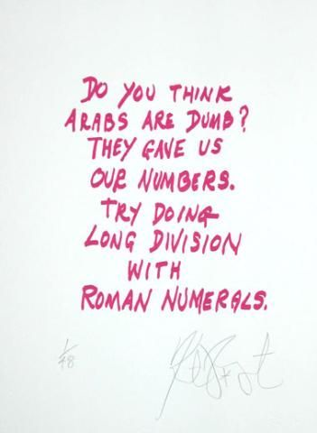 "CONFETTI #17: ""Do you think Arabs are dumb? . . .""; Limited Edition, Signed Silkscreen Print. Kurt Vonnegut."