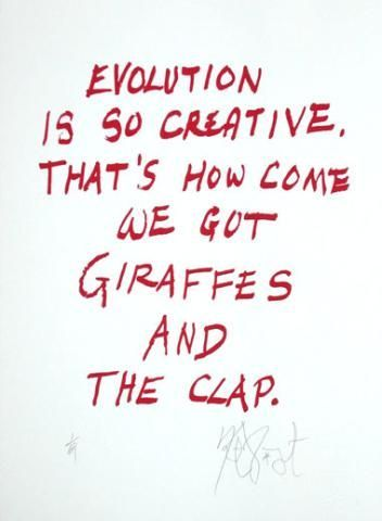 "CONFETTI #26: ""Evolution is so creative, That's how come . . .""; Limited Edition, Signed Silkscreen Print. Kurt Vonnegut."