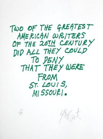 "CONFETTI #28: ""Two of the greatest American writers . . .""; Limited Edition, Signed Silkscreen Print. Kurt Vonnegut."