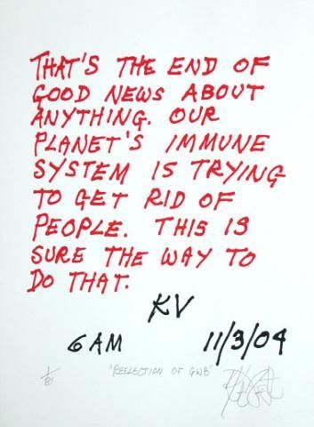 "CONFETTI #29: ""That's the end of good news about anything . . .""; Limited Edition, Signed Silkscreen Print. Kurt Vonnegut."