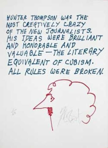 """CONFETTI #34: """"Hunter Thompson was the most creatively crazy . . .""""; Limited Edition, Signed Silkscreen Print."""