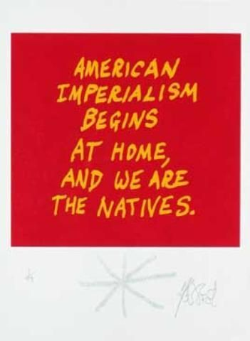 "CONFETTI #54: ""American imperialism begins at home . . . ""; Limited Edition, Signed Silkscreen Print. Kurt Vonnegut."