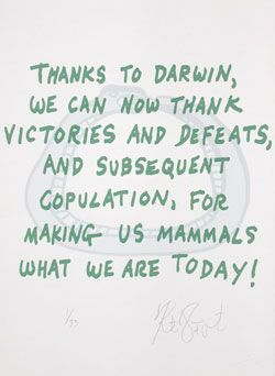 "CONFETTI #65: ""Thanks to Darwin, we can now thank . . . ""; Limited Edition, Signed Silkscreen Print. Kurt Vonnegut."
