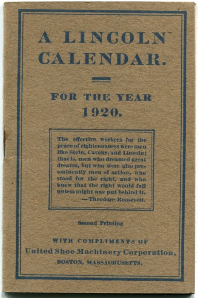 LINCOLN CALENDAR: For the Year 1920, Illustrated. Abraham Lincoln, Daniel S. Knowlton.