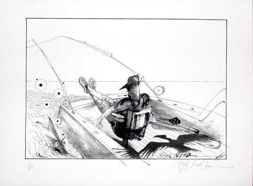 LONO'S FIGHTING CHAIR: Limited Edition, Signed Silkscreen Print. Ralph Steadman, Hunter S. Thompson.