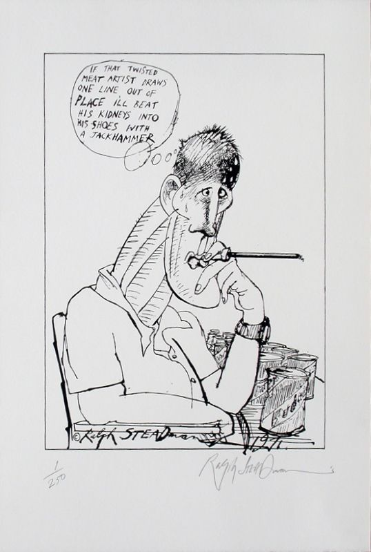 HUNTER S. THOMPSON, TWISTED MEAT ARTIST: Limited Edition, Signed Silkscreen Print. Ralph Steadman, Hunter S. Thompson.