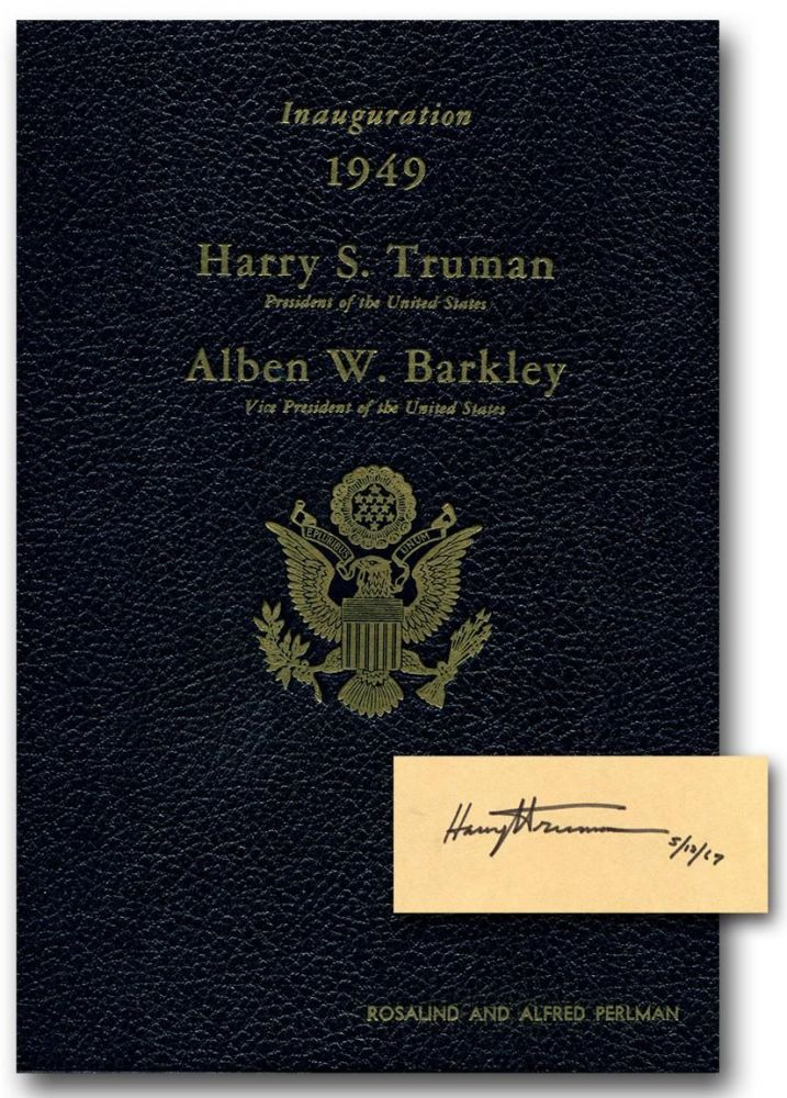 OFFICIAL PROGRAM COMMEMORATING THE INAUGURATION OF HARRY S. TRUMAN AND ALBEN W. BARKLEY: January 20, 1949.