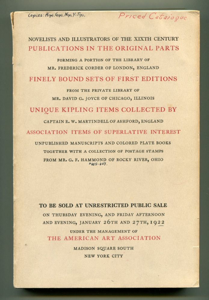 A NOTABLE COLLECTION OF FIRST EDITIONS, COSTUME AND COLORED PLATE BOOK,ETC. Auction Catalog, Rudyard Kipling.