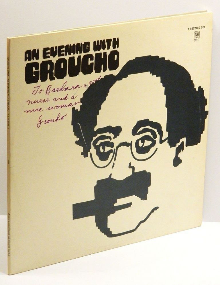 AN EVENING WITH GROUCHO (2 Record Set): Double-Album (LP) Inscribed by Groucho to his nurse. Groucho Marx, T. S. Eliot.