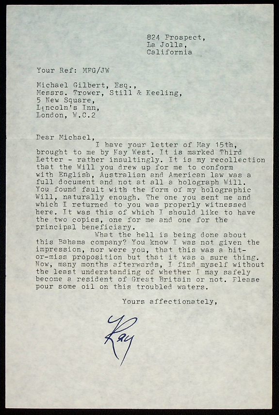 TYPED LETTER SIGNED BY CHANDLER; from one mystery writer to another. Raymond Chandler.