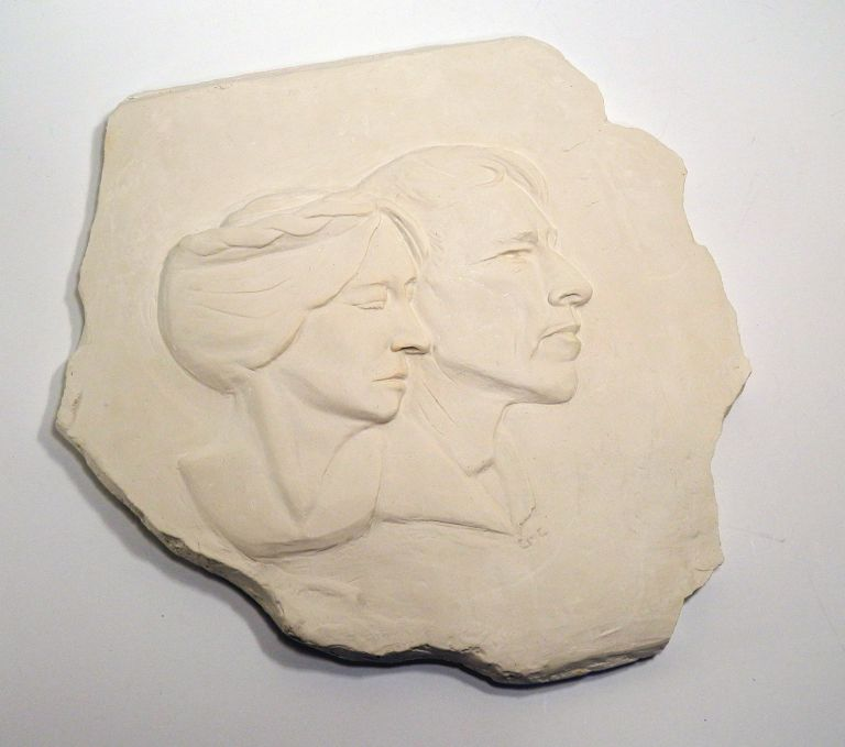 THEY MADE THEIR DREAMS FOR THEMSELVES: Plaster Bas Relief Sculpture of Robinson and Una Jeffers. Robinson Jeffers, Carol Matranga Courtney.