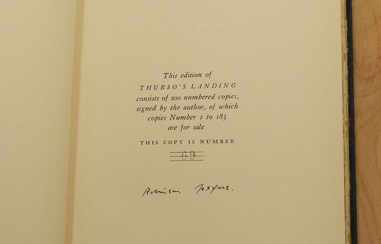 THURSO'S LANDING AND OTHER POEMS. Robinson Jeffers.