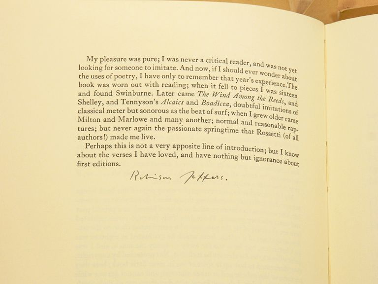 A BIBLIOGRAPHY OF THE WORKS OF ROBINSON JEFFERS; [Rare advance copy, signed by Jeffers, being Alberts' own proof copy]. Robinson Jeffers, S. S. Alberts.