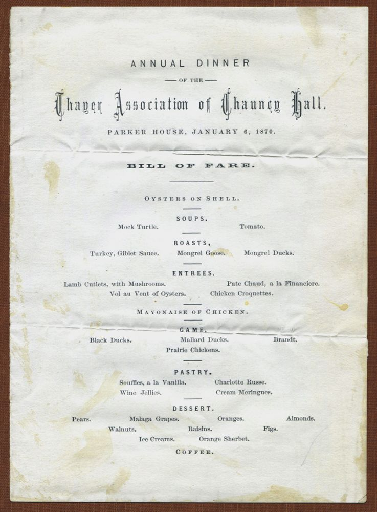 THREE EARLY MENUS FROM RESTAURANTS IN BOSTON: Parker House; Ober's; and Hotel Nantasket. Boston Menus.