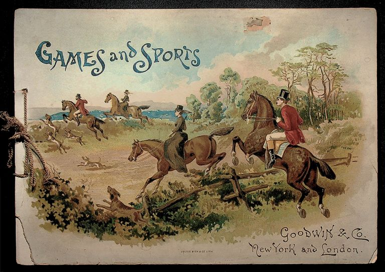 GAMES AND SPORTS; (Lithograph album for Goodwin Old Judge and Gypsy Queen Cigarette tobacco trading cards). Trading Card Album.