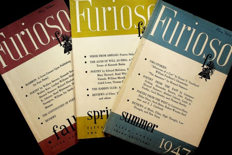 """Faulkner's """"Afternoon of a Cow"""" in FURIOSO: Summer 1947, Vol. II, No. 4; Together with Fall 1946 and Spring 1947 issues (3 volumes). William Faulkner, as Ernest V. Trueblood, Wallace Stevens Howard Nemerov."""