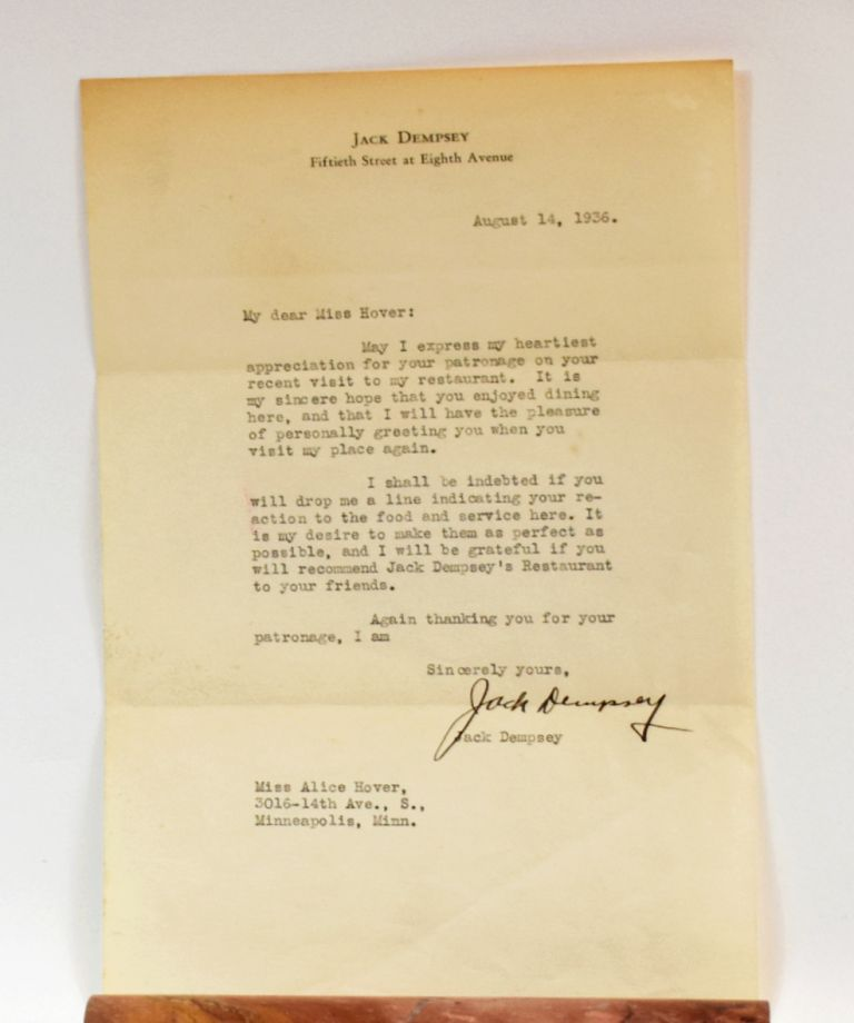 TYPED LETTER SIGNED; an early letter of thanks from the boxing legend. Jack Dempsey.