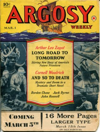 AND SO TO DEATH in ARGOSY WEEKLY - Volume 306, Number 1. Cornell Woolrich