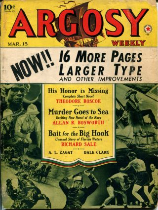 MURDER GOES TO SEA: in ARGOSY WEEKLY- Volume 306, Number 3. Allan R. Bosworth