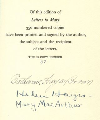 LETTERS TO MARY. Helen Hayes, by Catherine Hayes Brown