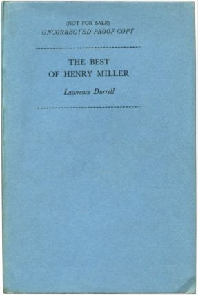 THE BEST OF HENRY MILLER. Henry Miller