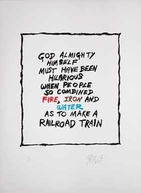 """CHOO CHOO"": Limited Edition, Signed Silkscreen Print. Kurt Vonnegut, Jr."