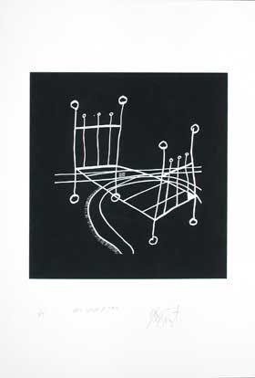 """ONCE UPON A TIME,"" BLACK NEGATIVE EDITION: Limited Edition, Signed Silkscreen Print. Kurt Vonnegut."