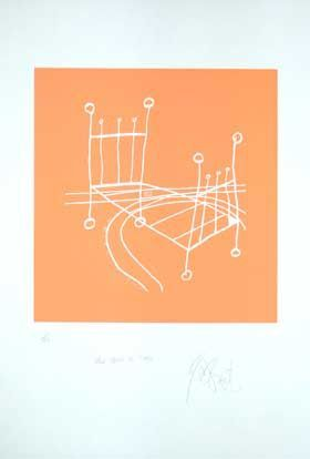 """ONCE UPON A TIME,"" ORANGE NEGATIVE EDITION: Limited Edition, Signed Silkscreen Print. Kurt Vonnegut."