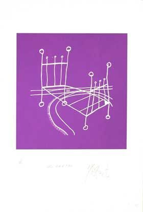 """ONCE UPON A TIME,"" PURPLE NEGATIVE EDITION: Limited Edition, Signed Silkscreen Print. Kurt Vonnegut"