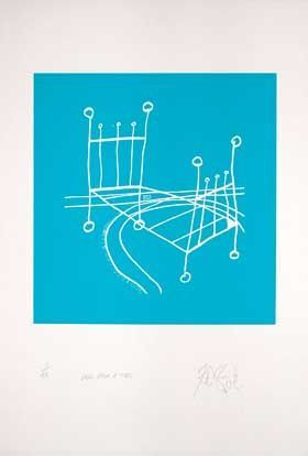 """ONCE UPON A TIME,"" CERULEAN BLUE NEGATIVE EDITION: Limited Edition, Signed Silkscreen Print. Kurt Vonnegut."