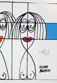 """NUDE BEACH"": Limited Edition, Signed Silkscreen Print. Kurt Vonnegut"