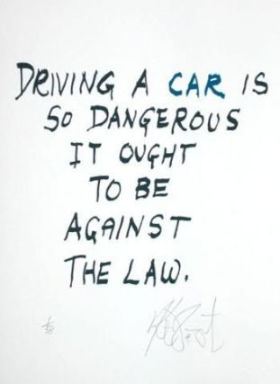 "CONFETTI #7: ""Driving a car is so dangerous . . .""; Limited Edition, Signed Silkscreen Print. Kurt Vonnegut."
