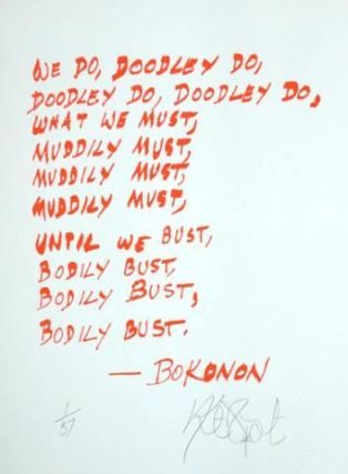 "CONFETTI #10: ""We do, doodley do . . .""; Limited Edition, Signed Silkscreen Print. Kurt Vonnegut, Jr."