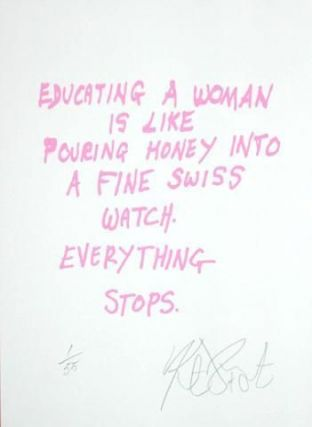 "CONFETTI #16: ""Educating a woman is like . . .""; Limited Edition, Signed Silkscreen Print. Kurt Vonnegut, Jr."