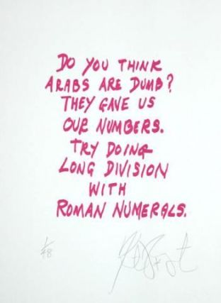 "CONFETTI #17: ""Do you think Arabs are dumb? . . .""; Limited Edition, Signed Silkscreen Print."