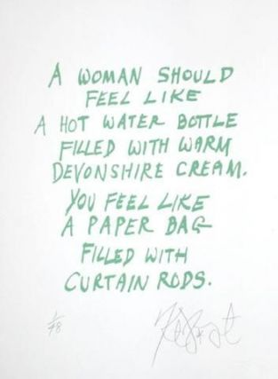 "CONFETTI #18: ""A woman should feel like a hot water bottle . . .""; Limited Edition, Signed Silkscreen Print. Kurt Vonnegut, Jr."