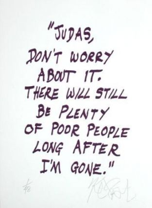 "CONFETTI #20: ""Judas, don't worry about it . . .""; Limited Edition, Signed Silkscreen Print. Kurt Vonnegut."