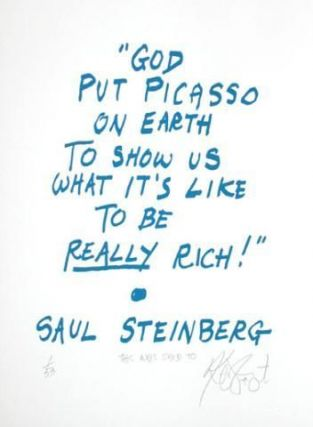 "CONFETTI #23: ""God put Picasso on earth . . .""; Limited Edition, Signed Silkscreen Print. Kurt Vonnegut, Jr."
