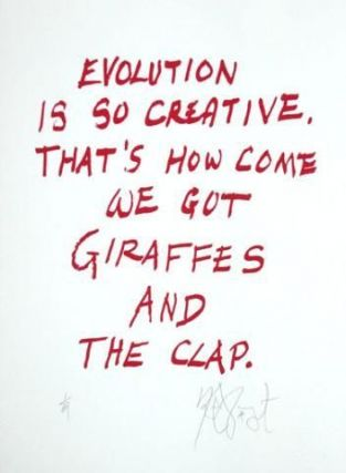 "CONFETTI #26: ""Evolution is so creative, That's how come . . .""; Limited Edition, Signed Silkscreen Print. Kurt Vonnegut, Jr."