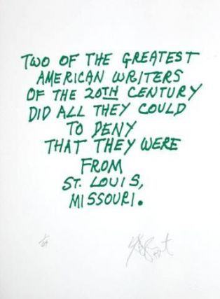 "CONFETTI #28: ""Two of the greatest American writers . . .""; Limited Edition, Signed Silkscreen Print. Kurt Vonnegut, Jr."